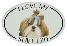 Oval Dog Breed Picture Car Magnet - I Love My Shih Tzu - Bumper Sticker Decal
