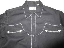 Panhandle Slim Retro Western Fancy Snap Black White Smile Arrow Pocket Blouse M