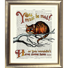 ART PRINT ON ORIGINAL OLD ANTIQUE BOOK PAGE Cheshire Cat Alice in Wonderland