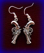 Pistol Jewelry Earrings  - Steampunk! Revolver Gun Weapon Earrings