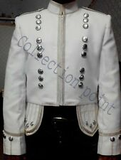 Military Piper Drummer Doublet Tunic White Scottish  kilt Jacket in Cotton