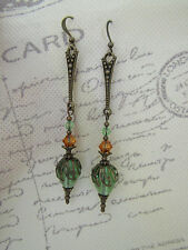 VINTAGE STYLE DANGLE long DROP EARRINGS STEAMPUNK Deco Swarovski Elements
