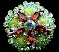 Vintage Juliana Costume Jewelry Brooch Pin Green Rhinestones Mid Century