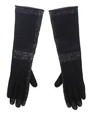NWT $400 DOLCE & GABBANA Black Lambskin Leather Wool Elbow Gloves Silk s. 7 / S