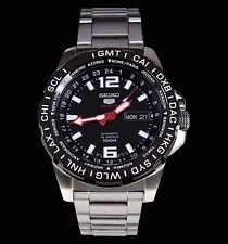 NEW MEN'S BLACK DIAL SEIKO 5 SPORTS 24 JEWEL 4R36 AUTOMATIC GMT SRP685K1