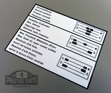 RESTORATION DECAL FOR A PORSCHE 911 - HEATER OPERATION CONTROLS STICKER