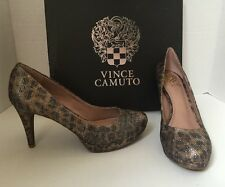 $150 Vince Camuto Zella Gold Glittery Fabric Animal Print Pump Size 8.5