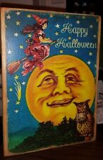 Primitive Sign Happy Halloween MOON Witch Owl Man in the Moon Vintage