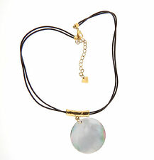 Cookie Lee Puau Abalone Shell Pendant Leather Choker Necklace