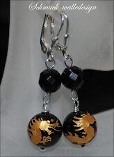 Ohrringe Brisur Onyx Drache in Blattgold graviert mit Silber,NEU