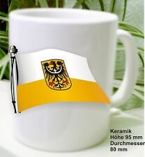 Niederschlesien Banner Flag In Wind Waving On Coffee Pot