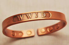 UNISEX 6.5 INCH HEALING MAGNETIC THERAPY 100% COPPER BANGLE / CUFF: WWJD? 4 Pain