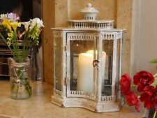 Antique French Vintage Style Large Glass Lantern Candle Holder Cream Distressed