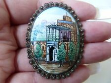 ANTIQUE SILVER ENAMELED HAND PAINTED BROOCH