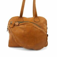 Vintage 70's TENNIS Bag Duffle Brown Leather Tote Gym Bag Carry-all