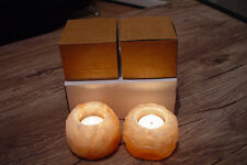 Christmas Unique Gift  2x Himalayan Crystal Rock Salt Candle Holder Hand Carved
