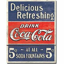 Coca Cola Coke Delicious 5 Cents Vintage Retro Style Wall Decor Metal Tin Sign