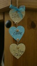shabby chic personalised baby boy birth christening plaque sign keepsake gift