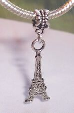 Eiffel Tower Travel Paris France Dangle Charm Bead fits Silver European Bracelet