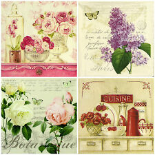 4x Single Table Party Paper Napkins for Decoupage Decopatch Vintage Flowers mix