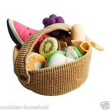New Ikea Duktig 9 Piece Fruit Basket Set Kids  Play Soft Toy 100% polyester-B111