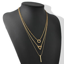 Delicate Celebrity Gold Plated Geometry Charms Three Layers Chain Necklace Gift