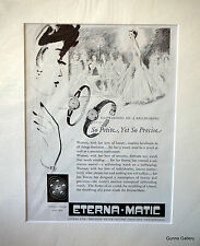 Original  Vintage Advert mounted ready to frame Eterna 1952 Ladies Watch