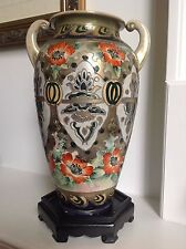 """Antique Japanese Porcelain Hand Painted Moriage Nippon Vase Two Handles 12"""" RARE"""