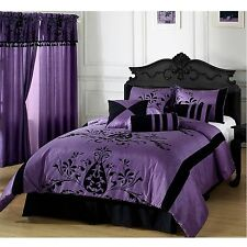Queen Size Comforter Set 7pc Down Alternative Luxury Bedding Purple Black