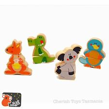 Wooden Australian Animal Friends Mix & Match Magnetic Building Blocks Puzzle Toy