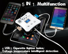 5in1 Multi Socket 12V/24V Car Cigarette Lighter Splitter 4USB+3Cigarette Lighter