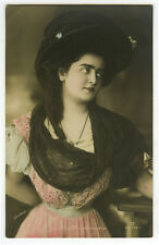c 1908 Young Lady FASHION HAT photo postcard