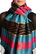 Aztec Patern On Blue and Pink With Gold Lurex Pashmina With Tassels (SF001726)