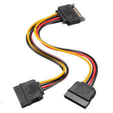Newly 1x 15Pin Sata Male to 2 Sata Female Power Splitter Y Cable Durable Hotsale