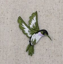 Iron On Embroidered Applique Patch Light Purple Hummingbird Facing Right SMALL