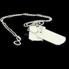 Army Style White 2 Dog Tag Mens Pendant Necklace Ball Beads Chain w/Tracking
