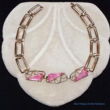 """Vintage 1940s Sterling Pink Triangle Glass Rhinestone Necklace Small Size 13"""""""