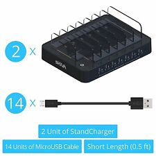 2x Skiva 7-Port Charging Station Dock with 14x Short micro-USB Cables (AC127)