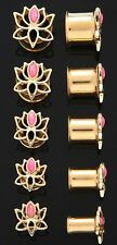 1 Pair (2) 00g 10mm 14K Gold Plated Pink Opal Lotus Flower Tunnels Ear Plugs 49