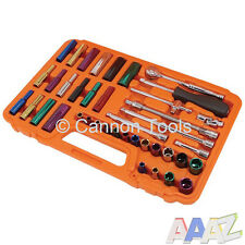 "40pc Standard & Deep Socket Tool Set 1/4"" Drive Extension T Bar Colour Coded"