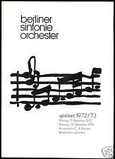 Konzertprogramm, Berliner Sinfonie Orchester, 1972/73, Dezember 1972