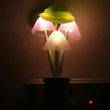 Colorful LED Sensor Mushroom Lotus Light Bedroom Night Lamp Home US Plug BG