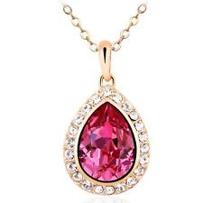New 18k Rose Gold Pendant with Pink Drop-shaped Swarovski Crystals Chain Jewelry