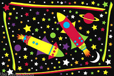 "3x5 Universal Rug Outer Space Rocket in Space Kids Sky Stars Night  3'3""x4'10"""