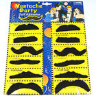 Pack of 12 Self adhesive Assorted Fake Moustache Mustache Set Fancy Dress Partys