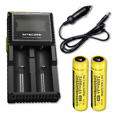 Nitecore D2 Digicharger w/2x NL189 18650 Batteries and Car Adaptor