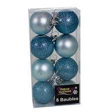 Christmas Decoration 8 Pack 50mm Glitter / Plain Baubles - Ice Blue