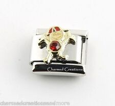 July Boy Kid Son Red Birthstone Birthday 9mm Italian Charm Stainless Link