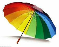LARGE BRIGHT MULTI COLOURFUL RAINBOW GOLF UMBRELLA - UNISEX PARASOL