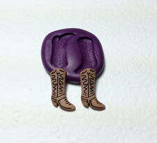 Siliocne Molds Miniature Cowboy Boots (22mm) Fondant Cupcake Topper Polymer Clay